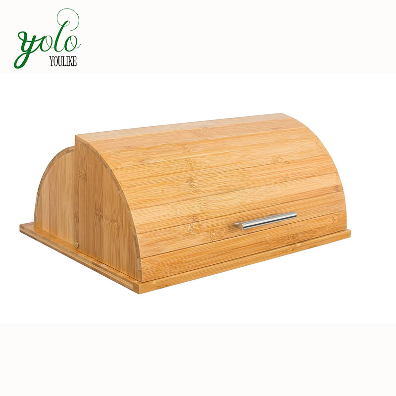 Morden Bamboo Wooden Bread Box&Boarrd with cover