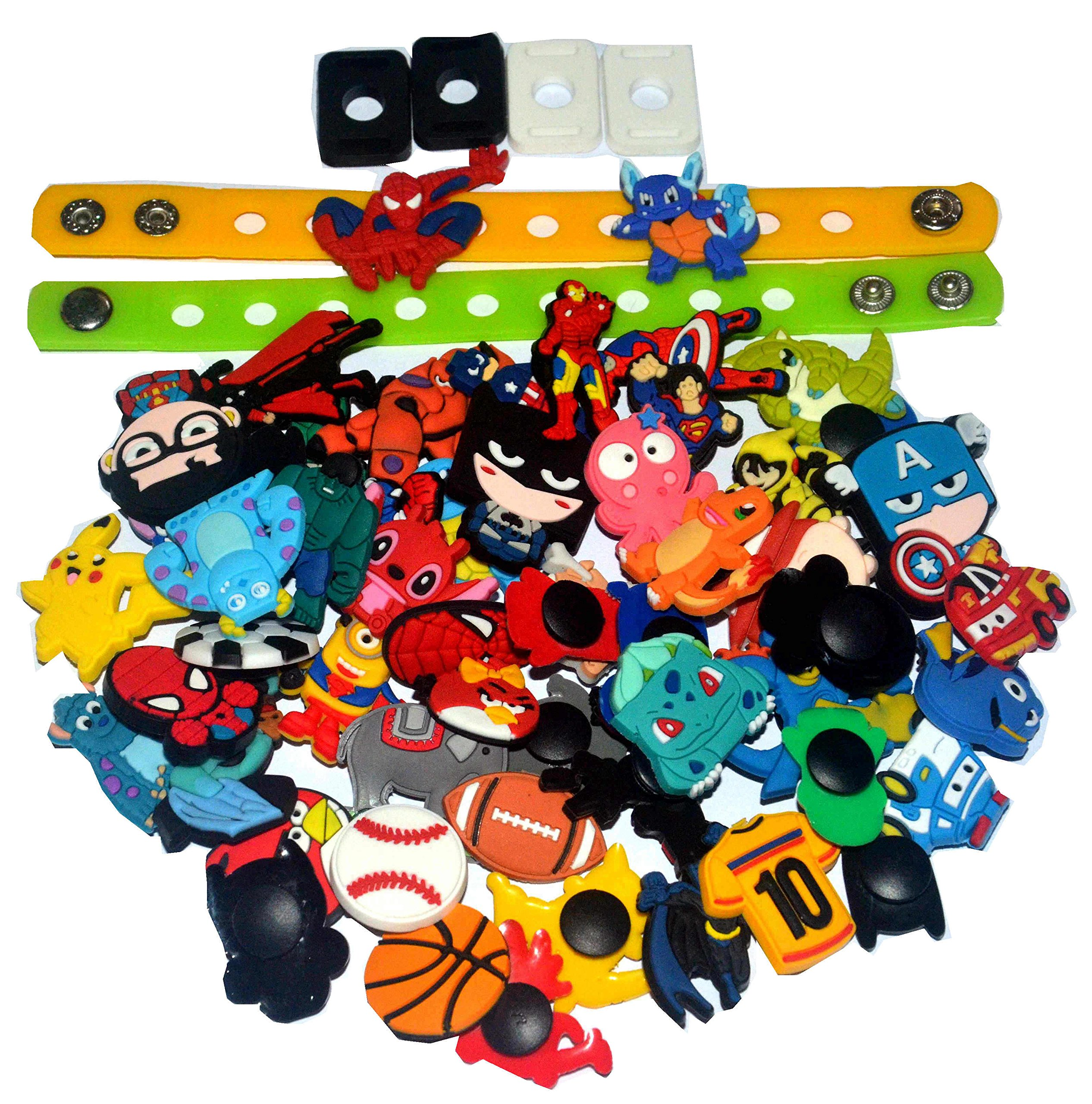 85c8fd159 Get Quotations · Lot of 55 PVC Different Shoe Charms for Croc   Jibbitz  Bands Bracelet Wristband for Boys