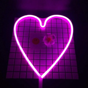 2018 new arrival battery powered multi-purpose decorations sturdy LED heart neon lights