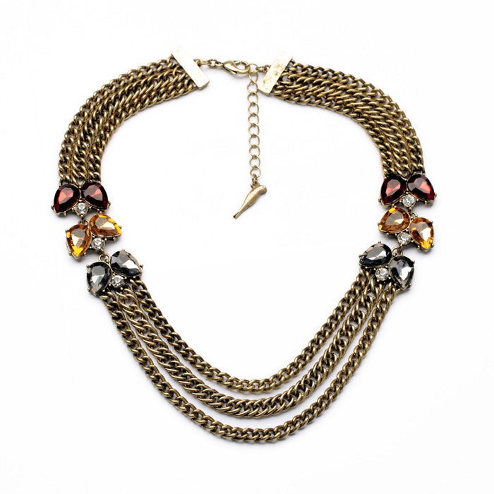 <strong>Accessory</strong> For Women Teardrop Glass Fashion Multi Chain Jewelry Set