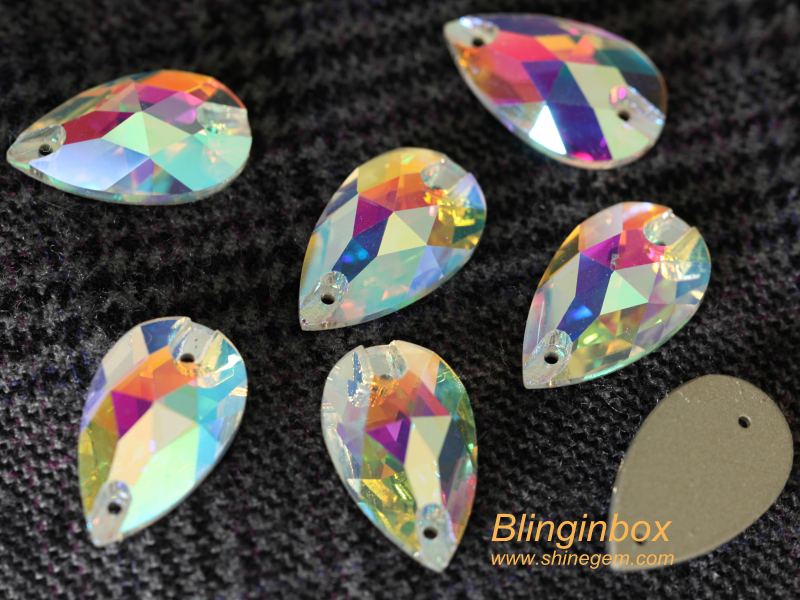Blinginbox excellent high quality teardrop shape crystal AB color glass sew on rhinestone for dress women