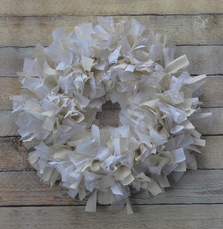 Burlap and lace wreath - Rustic decor - neutral home decor - muslin wreath - burlap wreath - country chic decor - country decor - wreath
