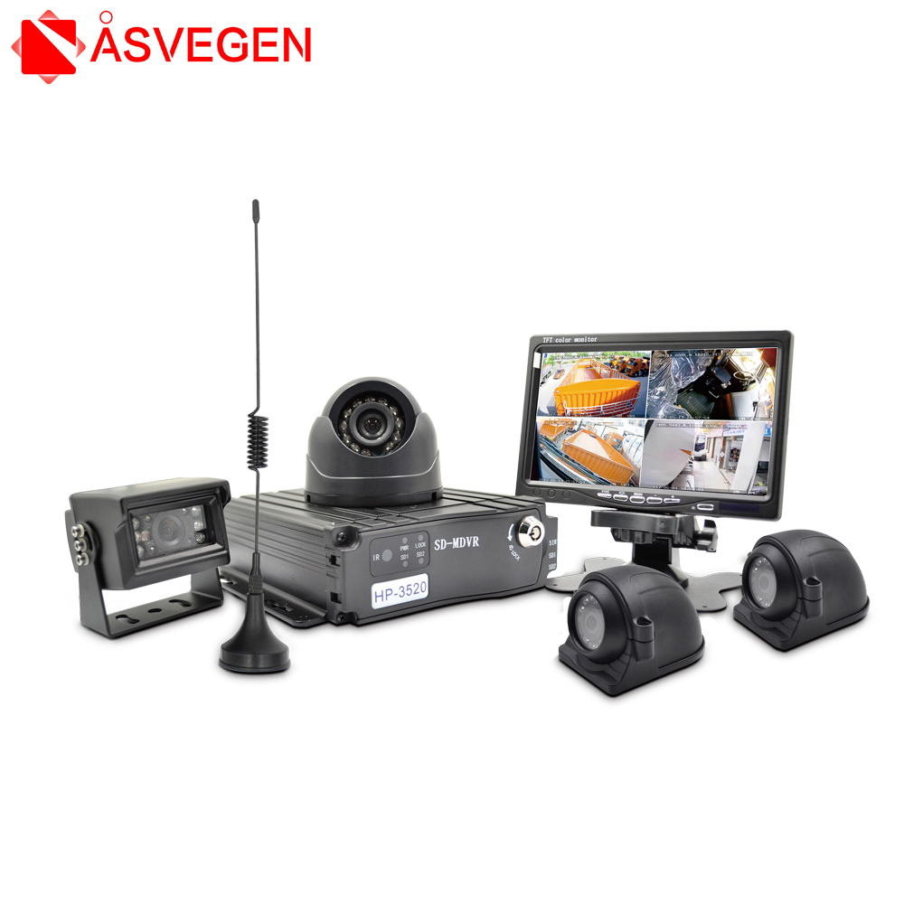 Wireless 4 Channel 4G GPS Hard Disk Car Dvr Vehicle SchoolBus Security System 7 inch Monitor 4 Dome camera