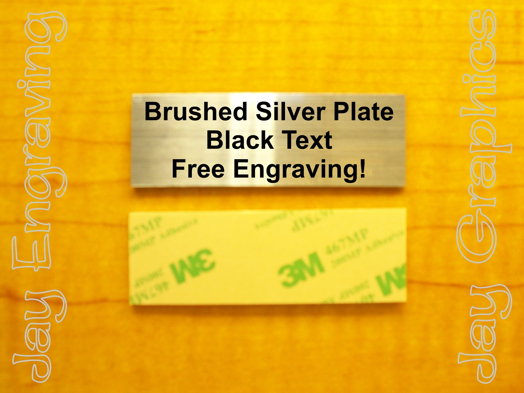 Get Quotations · Custom Engraved 1x3 Brushed Silver Plate | Name Tag Sign |  Badge With Adhesive | Engraving