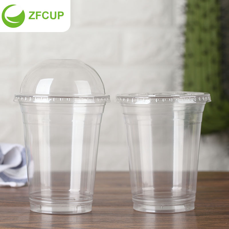 Zfcup 18 Oz Clear Disposable Pet Cup Custom Plastic Cups And Dome Lid 1000 Case