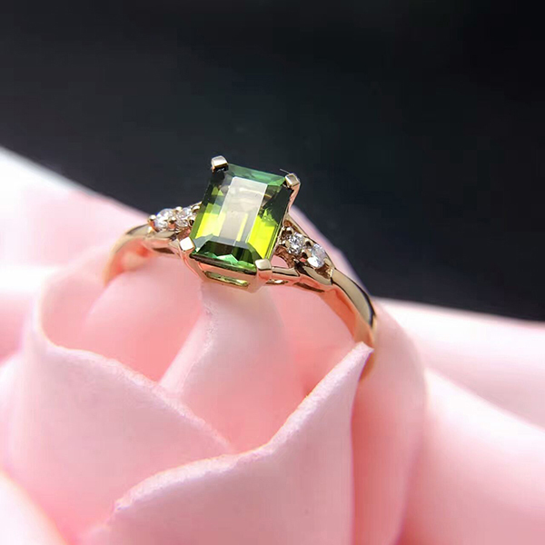 Halo emerald cut 18k gold plated 925 silver ring jewelry sets