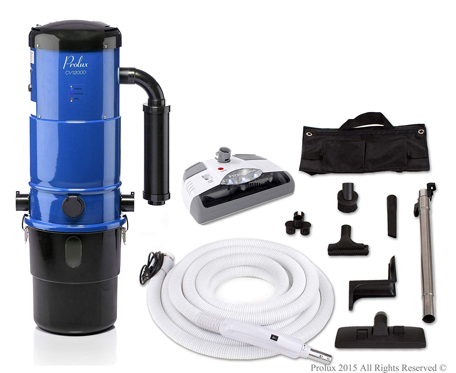 Prolux CV12000 Central Vacuum Unit System with Electric Hose Power Nozzle Kit and 25 Year Warranty …