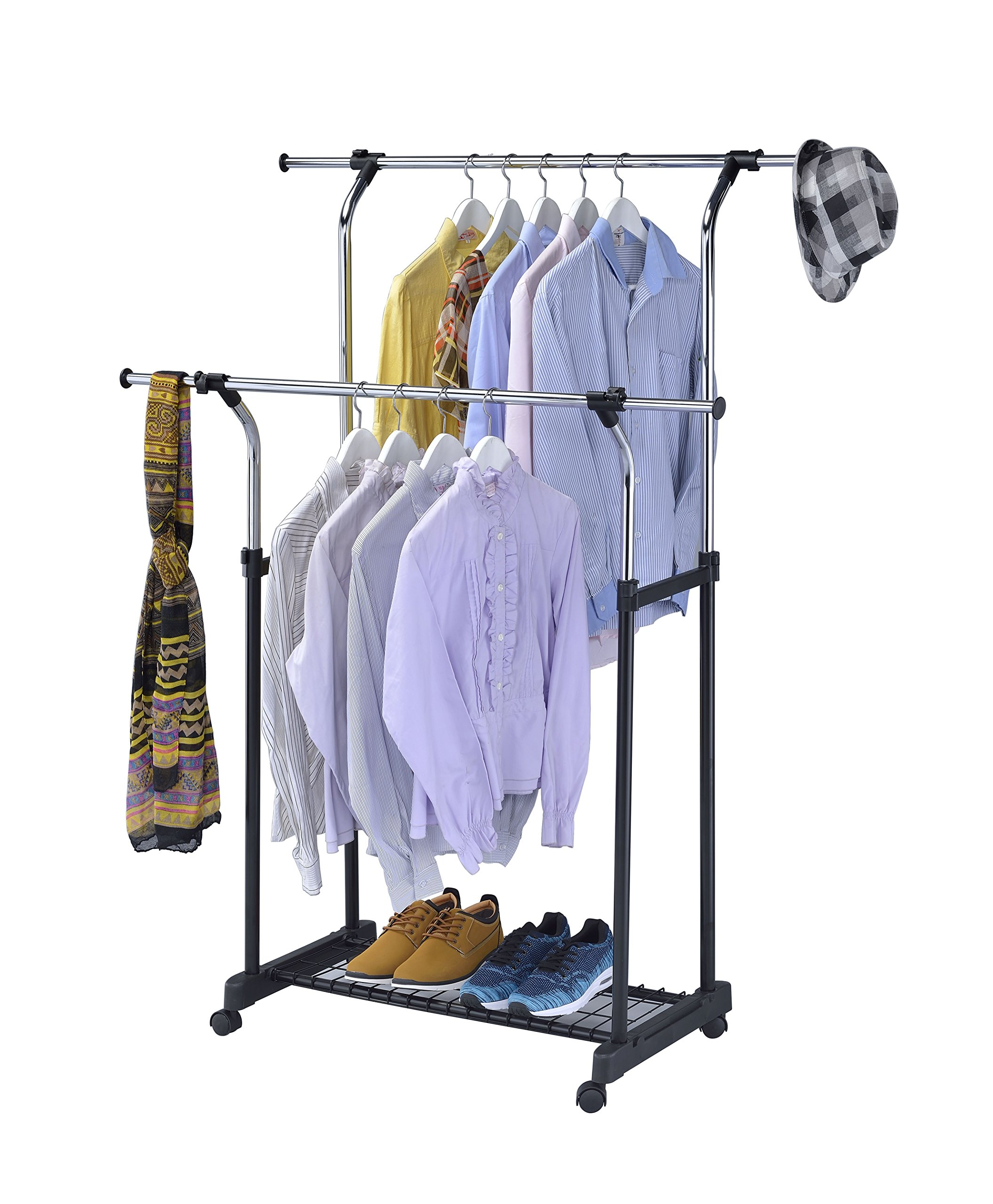 homdox garment rolling heavy clothes rack com ip hanging hanger walmart commercial duty shelf