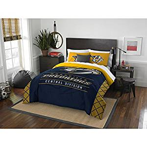 3 Piece NHL Nashville Predators Comforter Full Queen Set, Sports Patterned Bedding, Featuring Team Logo, Fan Merchandise, Team Spirit, Ice Hockey Themed, National Hockey League, Blue Yellow