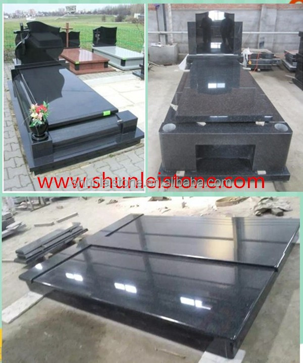 Polished Shanxi Black Carving Granite Tombstone