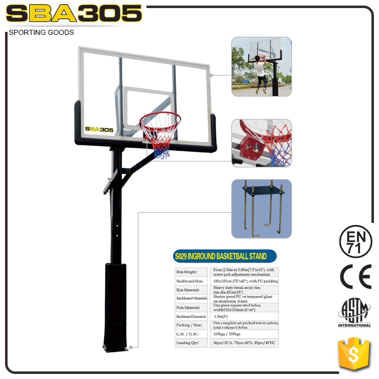 outdoor adjustable stainless steel basketball hoop