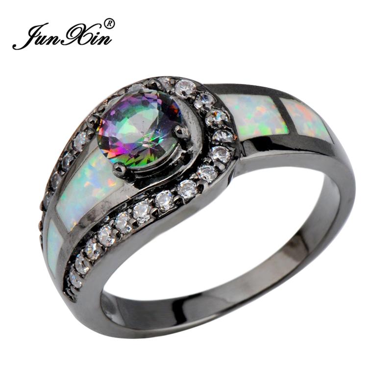 Rainbow Ball Female Opal Ring Black Gold Filled Jewelry