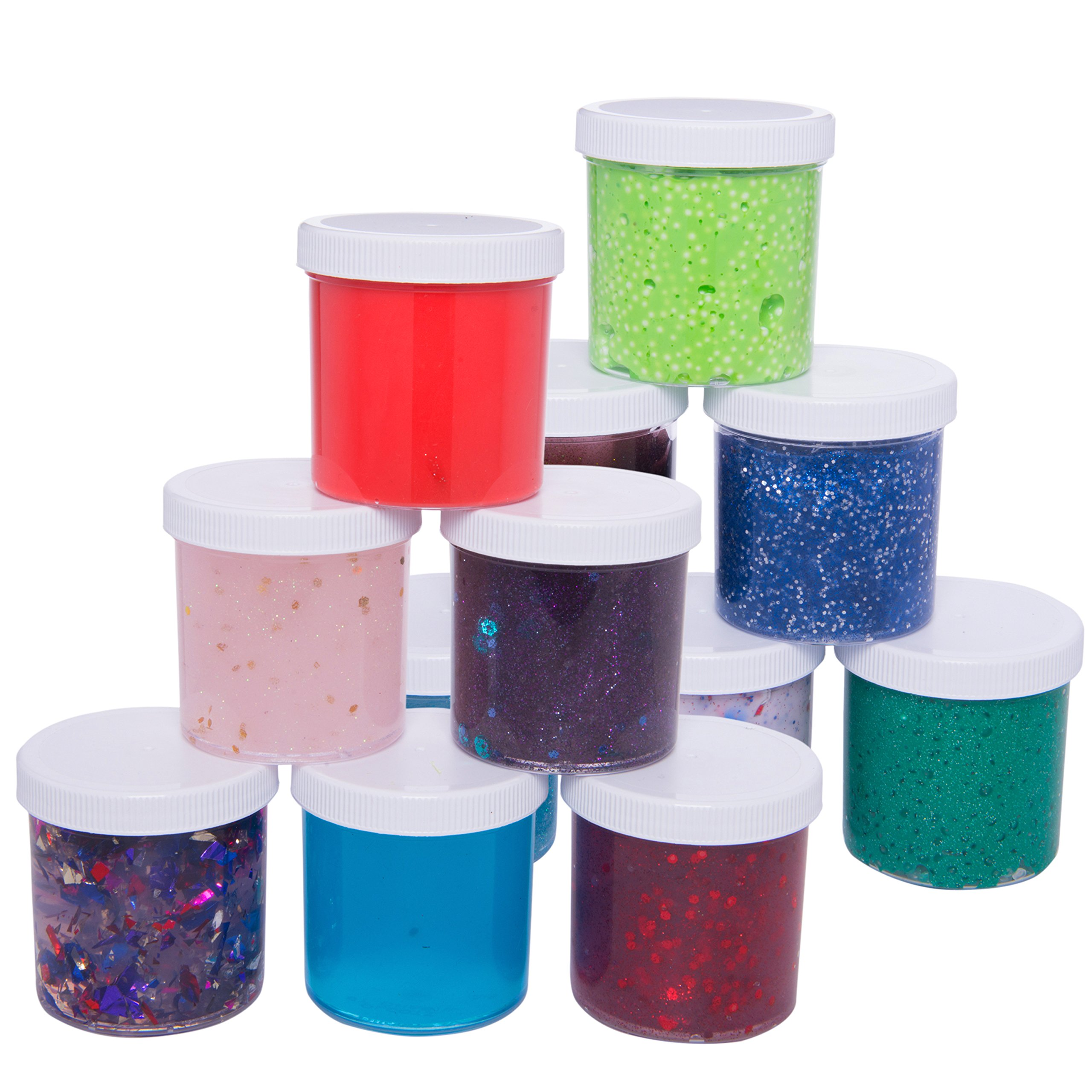Slime Storage Jars 6oz (12 Pack) - Maddie Rae's Clear Containers For All Your Glue Putty Making