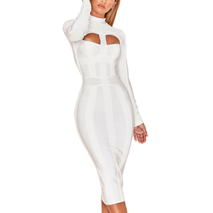 New arrival long sleeve white rayon bandage dress Midi women formal dresses in guangzhou