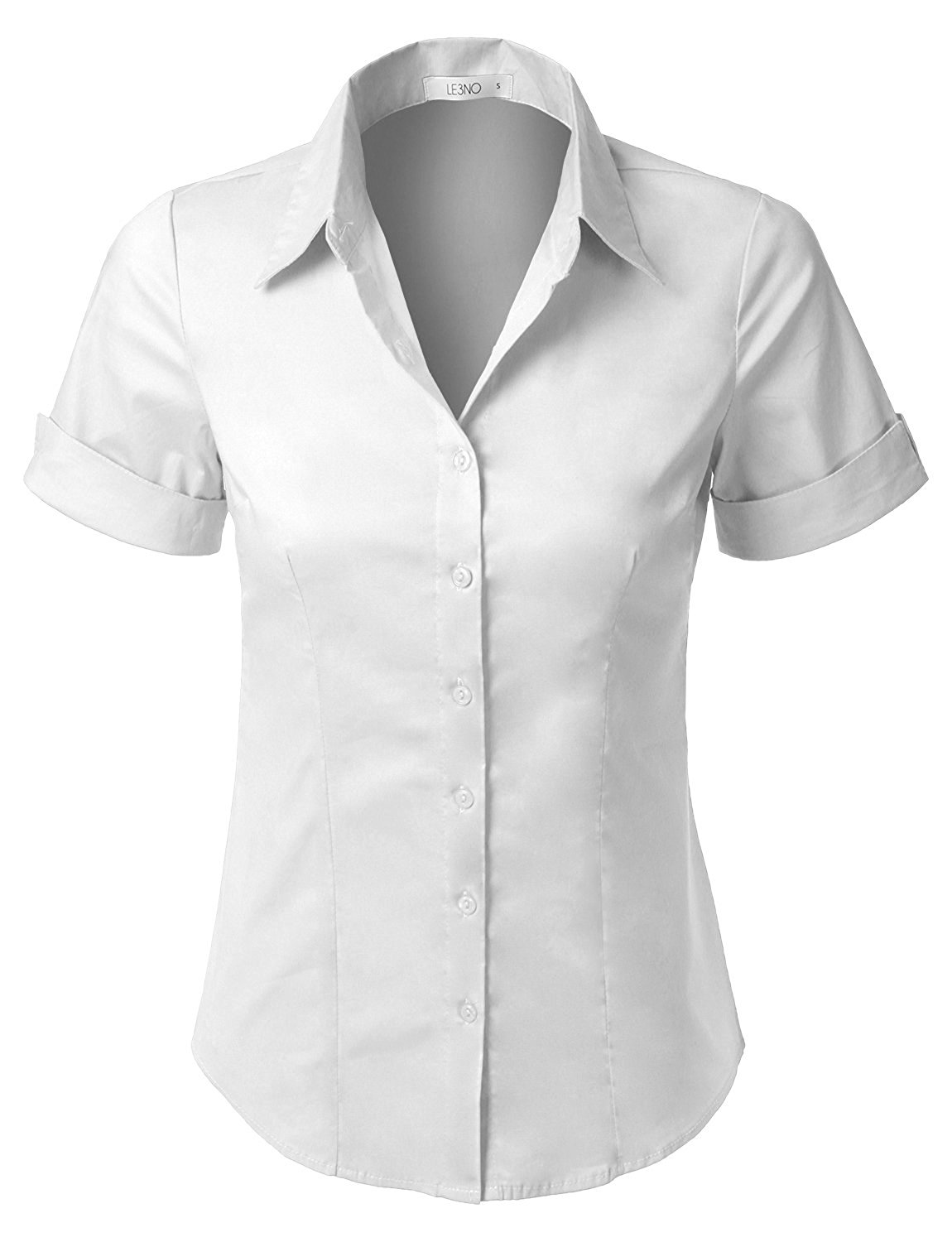 abc947829f15 Buy LE3NO Womens Tailored Long Sleeve Button Down Shirt with Stretch ...