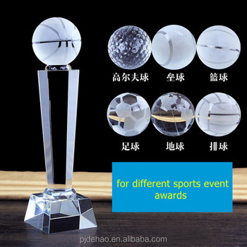 Custom Design Glass Crystal Award Basketball Trophy