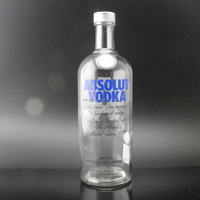 Shanghai Linlang 1000ml Absolut Vodka glass bottle with high temperature decal logo
