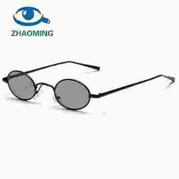 ZHAOMING hitam kecil oval sunglasses wanita retro 2018 logam bingkai lensa  kuning merah putaran vintage kacamata efc3b85d48