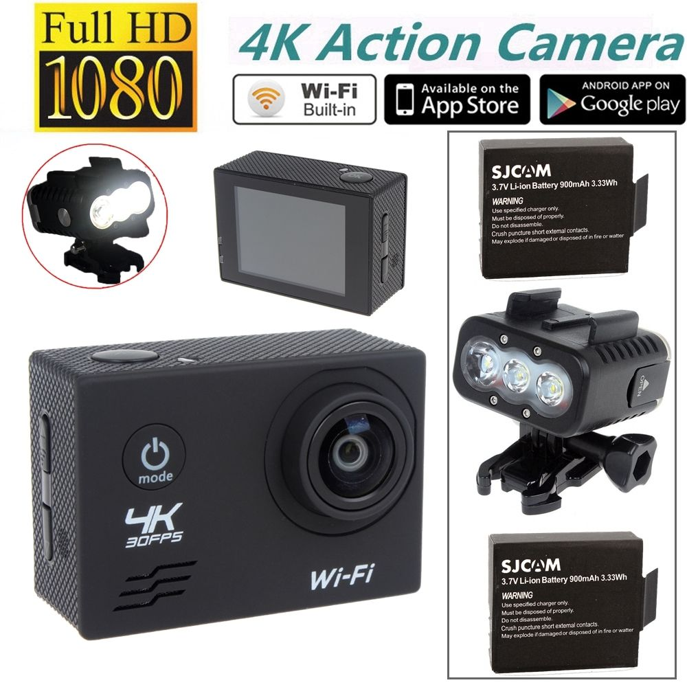 Free shipping SJ8000 4K WiFi Sports Action Camera Waterproof 50M Diving Light Free Battery