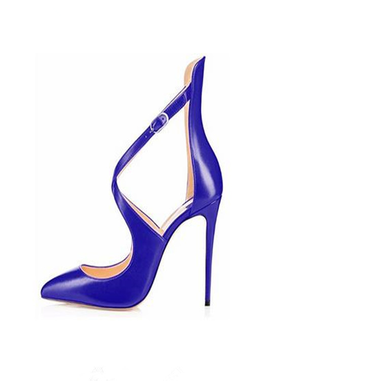 Sexy stylish multi color fashion ladies pointed toe colorful stiletto high heel strappy pumps ankle buckle dress <strong>shoes</strong> 2018