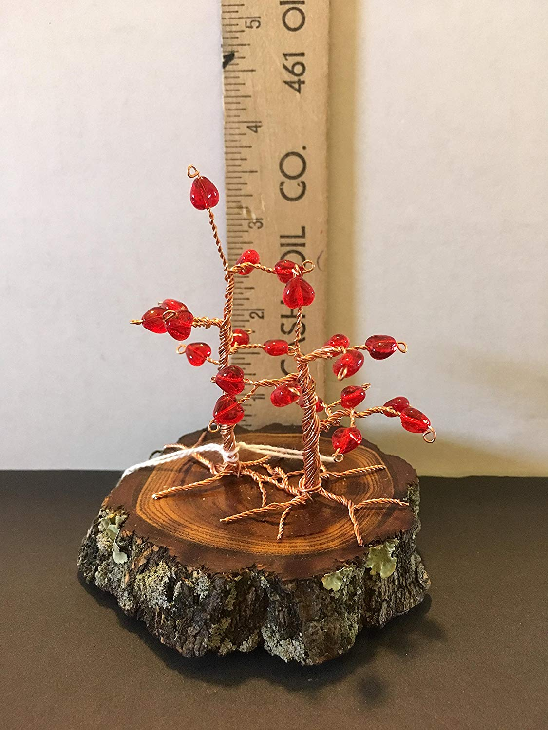 Copper wire bonsai with red, glass heart beads