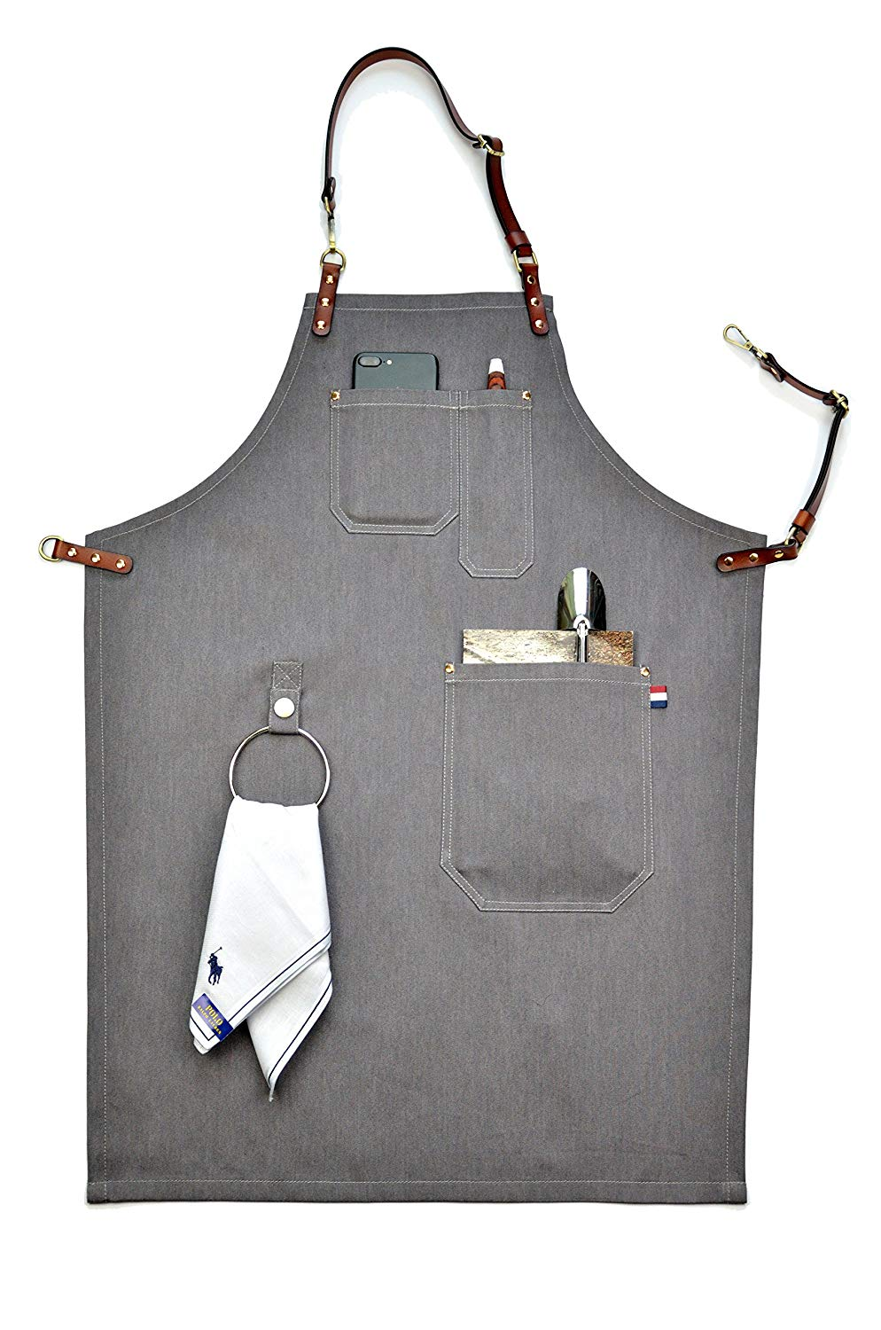 Professional Grade Chef Apron VANORIG for Kitchen BBQ Painting Grill and Cafe with Towel Loop + Tool Pockets + Quick Release Buckle (S, b)