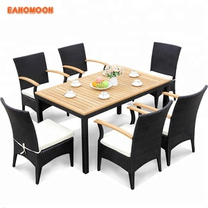 Cheap Outdoor Rattan+Plastic Wood Composite Patio Furniture 7 pcs Cube Dining Set for Home & Garden