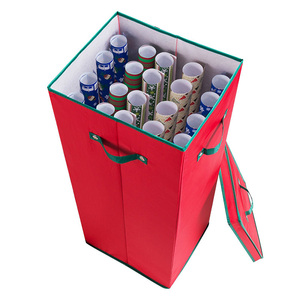 Holiday Christmas Gift Wrapping Paper Storage Box with Lid