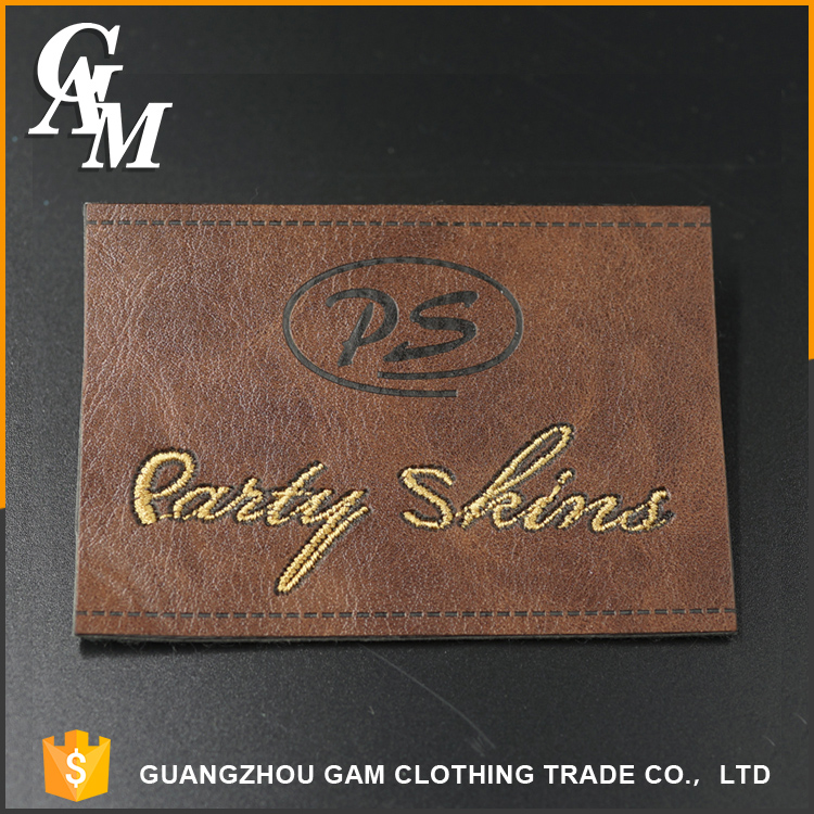 custom logo fashion design custom embossed metal tag clothing leather patch private label jeans for wholesale