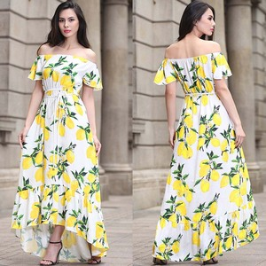 Women Off Shoulder Lemon Floral Print Dress Short Sleeve Maxi dresses