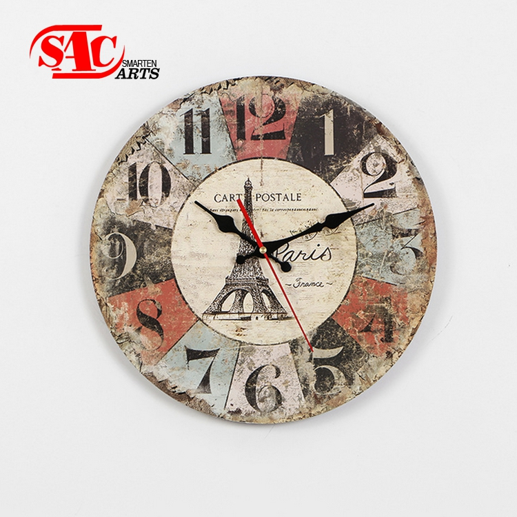 Modern design colorful round Wooden Wall Clock