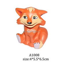 2015 Newest style promotion soft material fox stress ball, 4*5.5*6.5cm pu animal palm civet stress ball