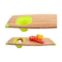 Bamboo Cutting Board With Removable Flexible Silicone Bowl