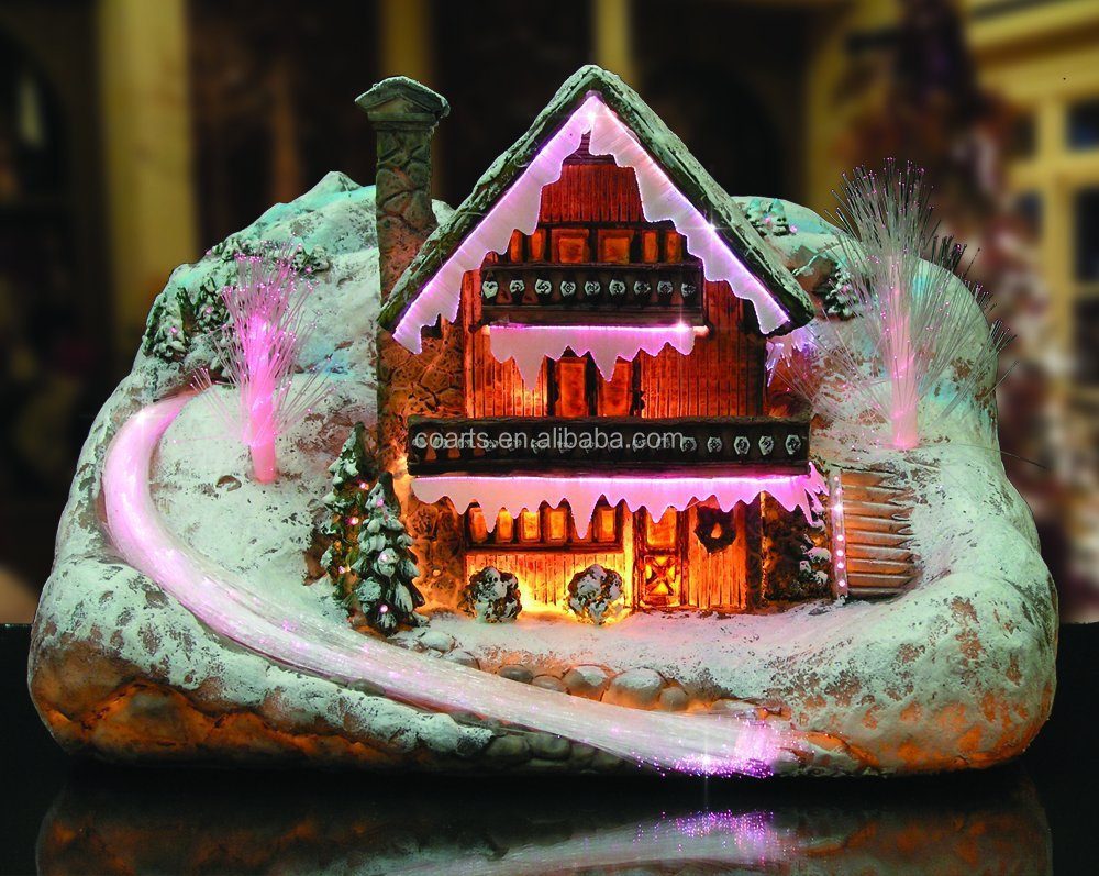 Custom Resin Christmas Village scene Fibre Optic LED Light Up Christmas decoration