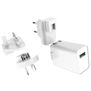 Fast Qualcomm Quick Charge 3.0 Certified Travel QC3.0 USB Wall Quick Charger with Interchangeable Plugs