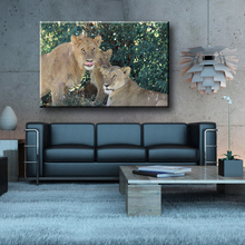 Wholesale lion family wild animal pop canvas art painting for home decorate