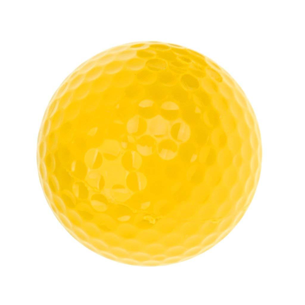 MonkeyJack Elastic Synthetic Rubber Golf Ball Training Practice Ball Yellow 42.6mm