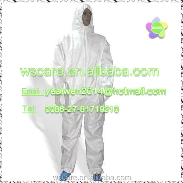 Flame Resistant PVC Coated Chemical Splash Regular Disposable Coverall with Attached hood