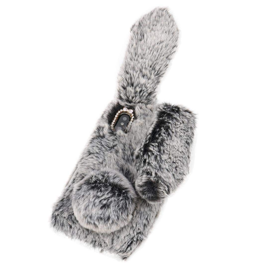 c12a3e6dbd4 Get Quotations · Kanzd For Iphone X Luxury Bling Diamond Bunny Rabbit Fur  Plush Fuzzy Fluffy Soft Phone Case
