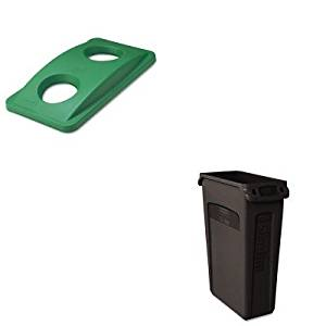 KITRCP269288GNRCP354060BK - Value Kit - Rubbermaid Green Bottle amp; Can Recycling Top For Slim Jim Waste Containers (RCP269288GN) and Rubbermaid Slim Jim with Venting Channels, Black (RCP354060BK)