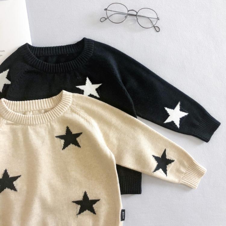 Kundenspezifische Großhandel Stern Muster Winter Kinder Baby Jungen Pullover Designs