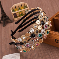 New fashion Hairband metal Baroque luxury crystal bandage head grade gold-plated crystal coin headdress for women