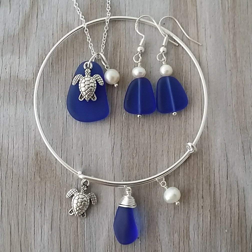 September Birthstone Wire wrapped cobaltSapphire sea glass necklace sterling silver chain earrings jewelry set Handmade in Hawaii