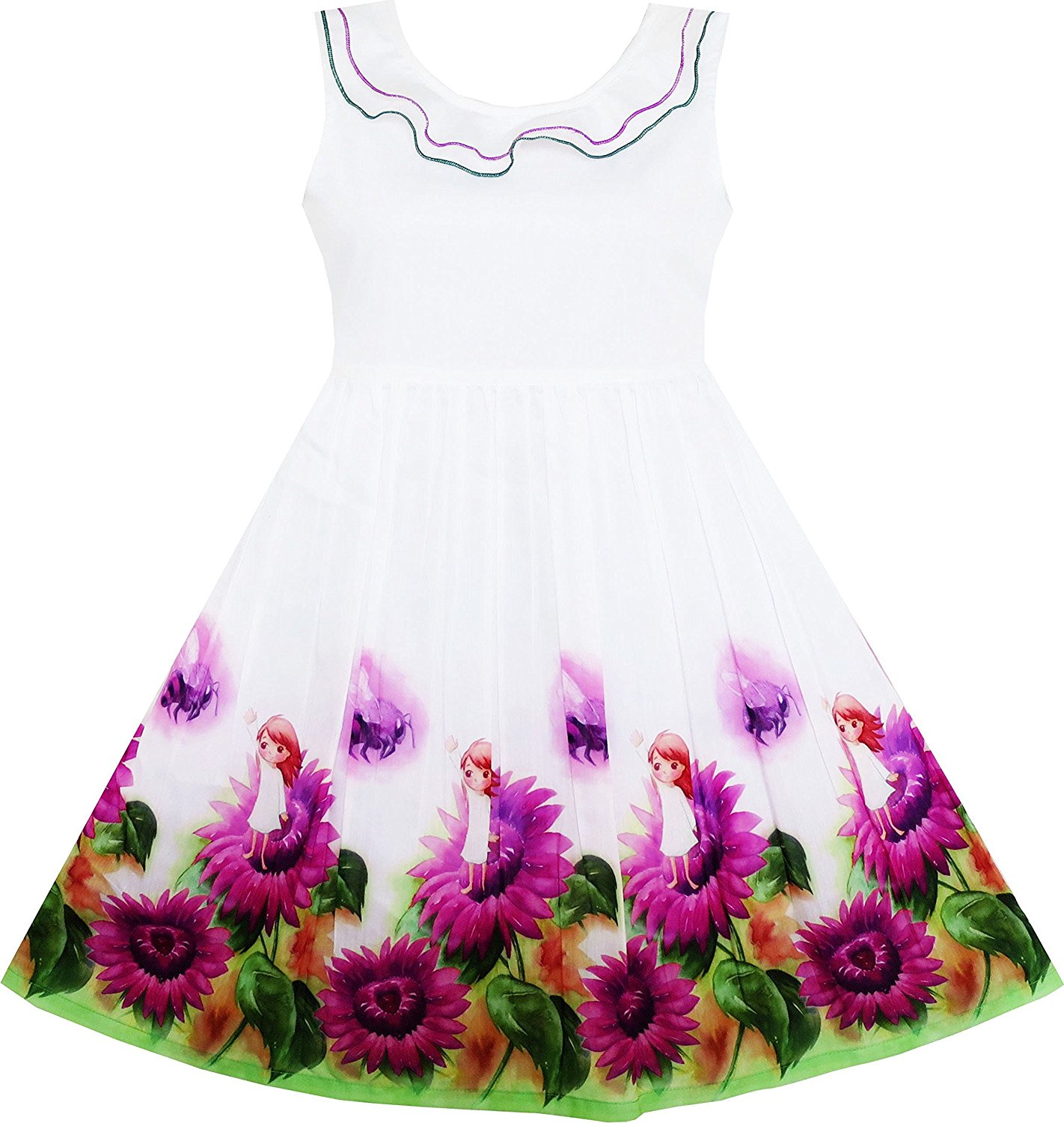 f7a9edc81c3 ... Double Bow Tie Party Sundress.  10.99. Sunny Fashion Girls Dress Rose  Flower Print Butterfly Embroidery Purple