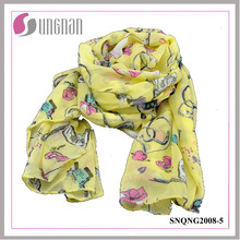 Hot Fashionable Prints 100% Polyester Silk Scarf