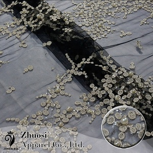 Custom Colors Black Mesh Pearls Lace Fabric for Nigerian evening dresses