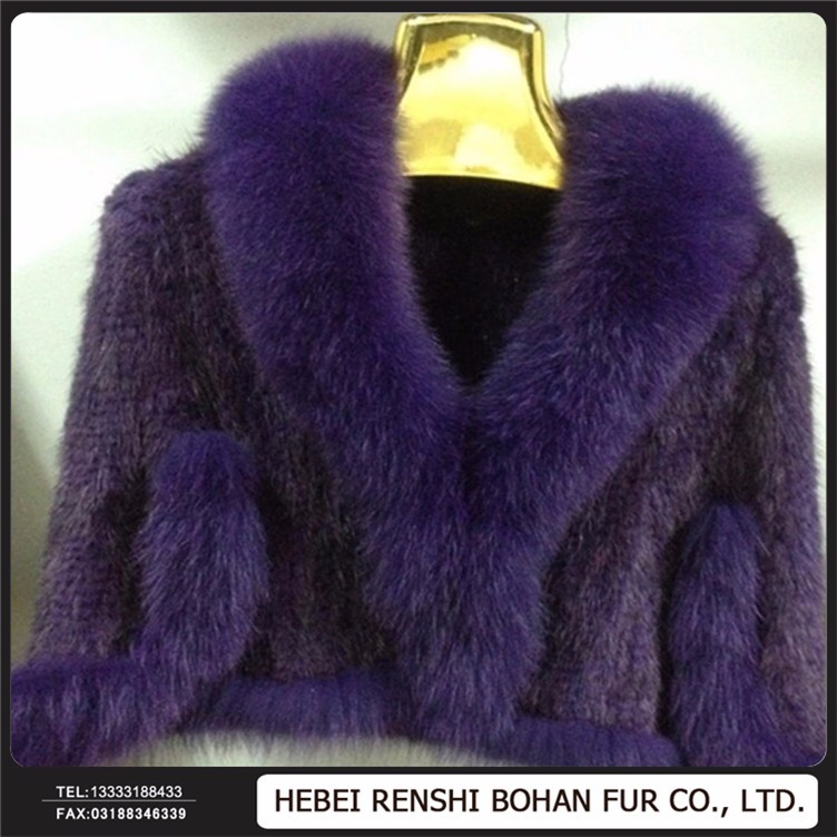 Best Quality Knitted Mink Fur Shawl / Wholesale Knitted Mink Fur Capes For Women Clothing / Mink Fue Shawl For Girls