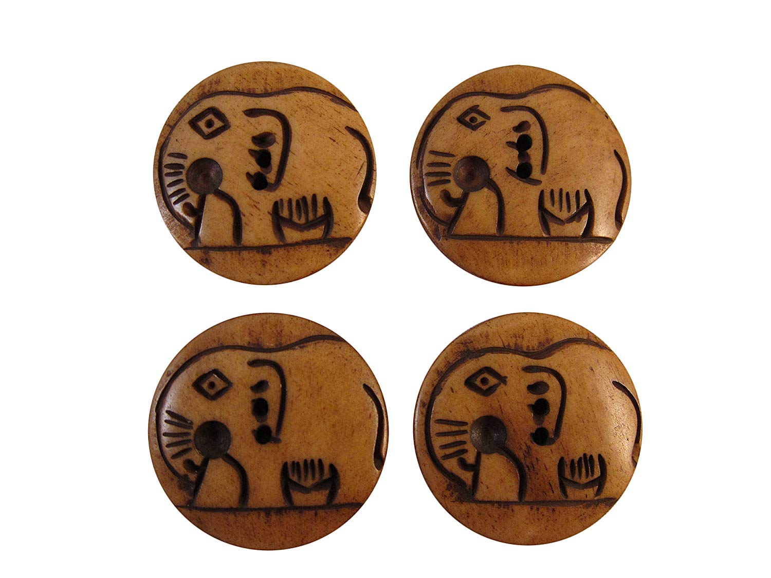 """Zen Canyon Natural Large Brown Elephant - 2-hole Carved Yak Bone Buttons - Pack of 4 - 1-1/8"""" Diameter - Fair Trade"""