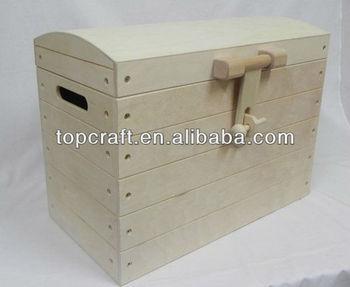 Wooden Treasure Chest Plain Wood Box Decoupage Craft Pyrography ...