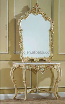 Bisini Royal Wood Carved Antique Console Table And Mirror, Home Decoration  Table